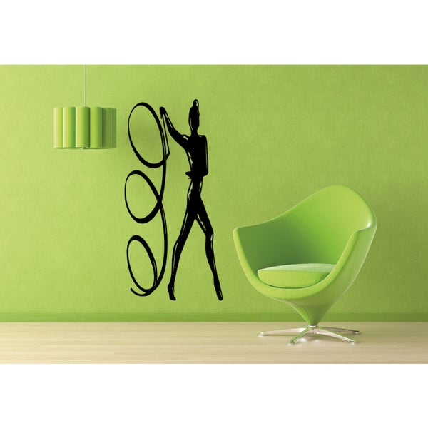 Girl Exercise exercise with gymnastic band Wall Art Sticker Decal