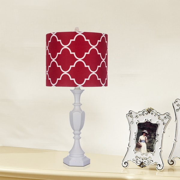 25 inch White Polyresin Table Lamp with Red Shade