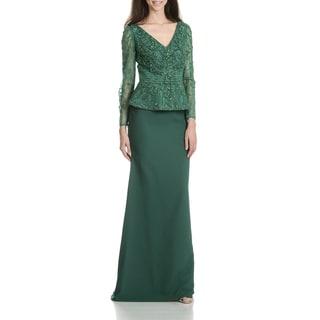 MacDuggal Women's Beaded Peplem Evening Gown