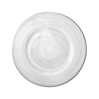 Alabaster Round Charger Plate With Rim