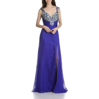 MacDuggal Women's Beaded Chiffon Evening Gown