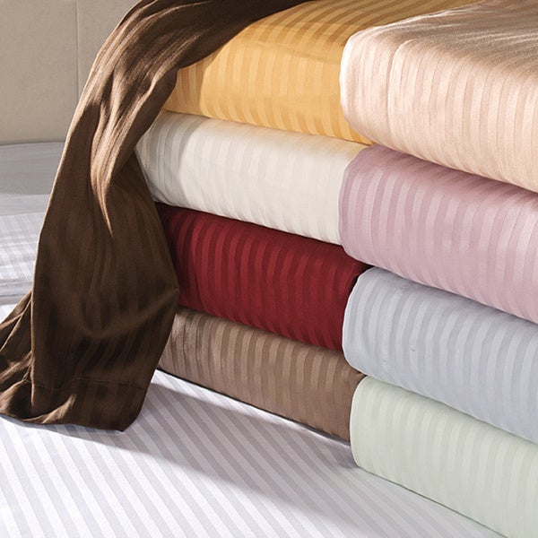 Luxor Treasures Egyptian Cotton 650 Thread Count Deep Pocket Striped Sheet Set King Size in White (As Is Item)