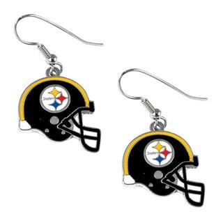 Pittsburgh Steelers NFL Helmet Shaped J-Hook Silver Tone Earring Set Charm Gift