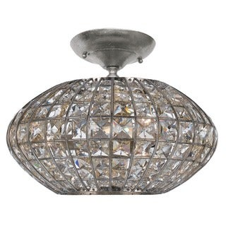 Crystorama Solstice Collection 3-light Antique Silver Semi Flush Mount