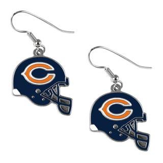 Chicago Bears NFL Helmet Shaped J-Hook Silver Tone Earring Set Charm Gift