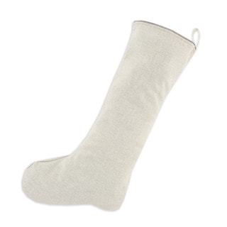 Natural Linen Lined Navy/ White Trimmed Stocking