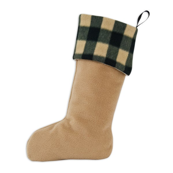 Tan Fleece Simply Soft-Buffalo Check Brown Christmas Stocking with Black Ribbon Tab