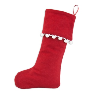 Red Fleece Simply Soft Christmas Stocking with Hidden Pom Pom Trim and Red Ribbon Tab