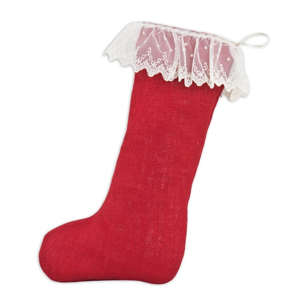 Red Burlap with Cream Ruffled Lace Band Christmas Stocking with Cream Tab