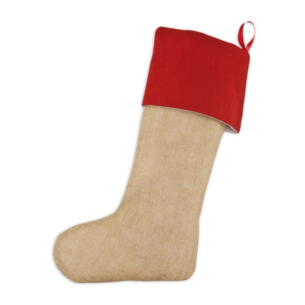 Natural/ Red Burlap Lined Trimmed Stocking with Red Ribbon Tab
