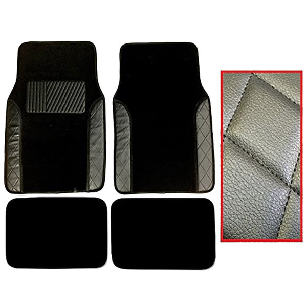 Black Two-tone Diamond-stitch Carpet Mats