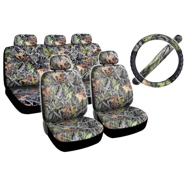Camo Grey Forest Car Seat Cover Set