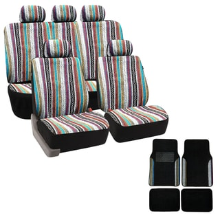 Baja Inca 12-piece Saddle Blanket Seat Covers Set with Match Plush Two-tone Carpet Floor Mat