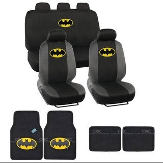 Silver Batman Logo Seat Cover Set with Rubber Floor Mats