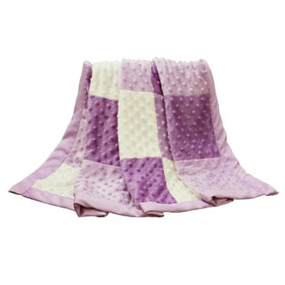 The Peanut Shell Zoe Purple Minky Dot Patchwork Blanket