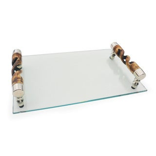 Hip Vintage Glass Tray With Swirled Handles