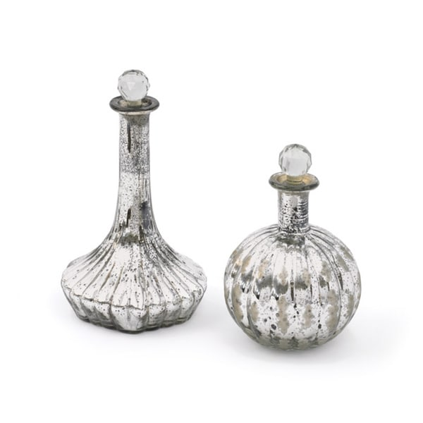 Set of Two Ribbed Decanters