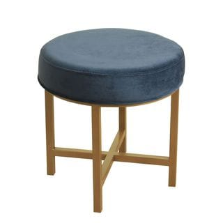 HomePop Round Ottoman with Midnight Velvet and Gold Metal X Base