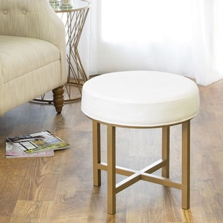 HomePop Round Ottoman with White Velvet and Gold Metal X Base