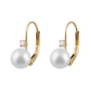 14k Gold Freshwater Pearl and 1/10ct TDW Diamond Leverback Earrings