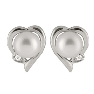Sterling Silver Freshwater Pearl Heart Earrings (7-8mm)