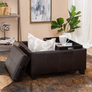 Luxury Large Brown Faux Leather Storage Ottoman Table