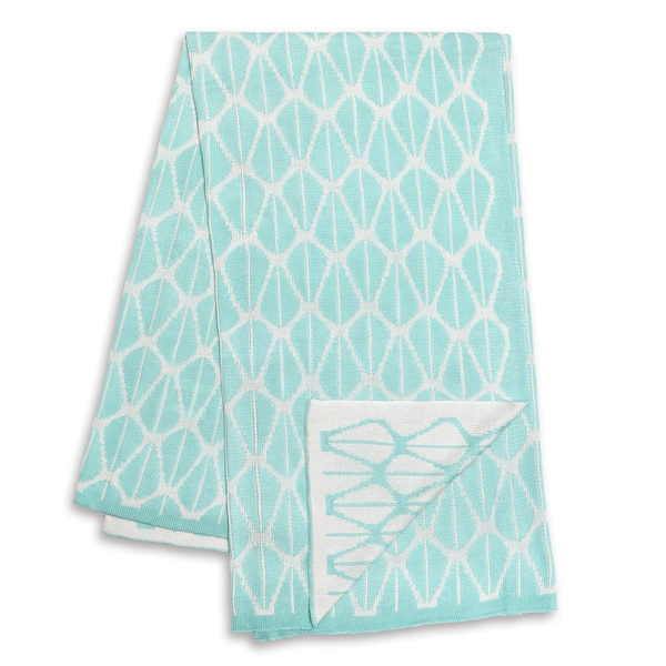 The Peanut Shell Mint and White Reversible Bamboo Blanket