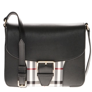 Burberry Small Horseferry Check and Smooth Leather Crossbody Bag