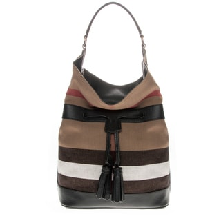 Burberry Tassled Ashby in Canvas Check and Leather
