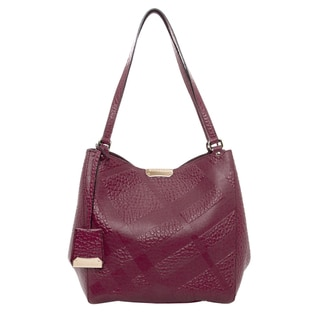 Burberry Small Canter Plum Bonded Leather Handbag