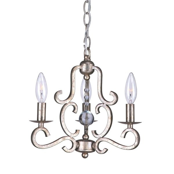 Crystorama Orleans Collection 3-light Olde Silver Mini Chandelier 17587839