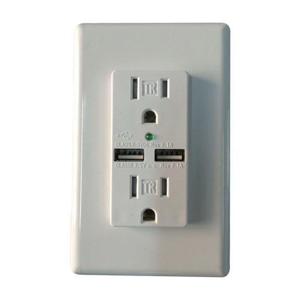 Audio Glow Charging Essentials Tamper Resistant USB Wall Sockets with Surge Protection (Set of 2)