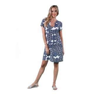 24/7 Comfort Apparel Women's Blue Chateau Printed Classic Dress
