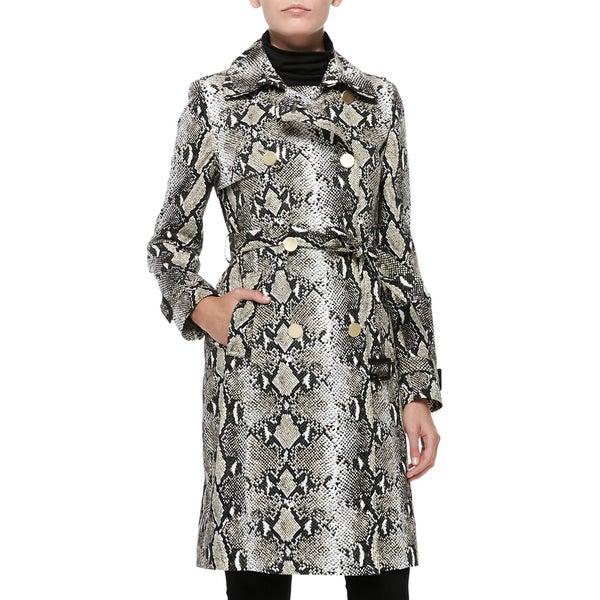 Diane Von Furstenberg Ariane Python Print Trench Coat