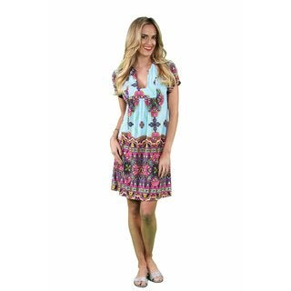 24/7 Comfort Apparel Women's Abstract Sky Blue Classic Dress