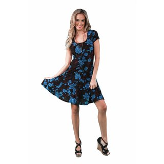 24/7 Comfort Apparel Women's Fall Floral Printed A-line Dress