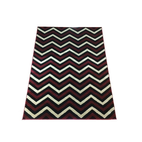 Lyke Home Lizzie Red Wave Collection Shag Area Rug (8' x 11')
