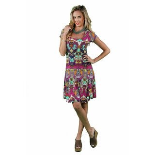 24/7 Comfort Apparel Women's Bright Bohemian A-line Dress