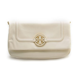 Tory Burch White Amanda Flapover Crossbody Handbag