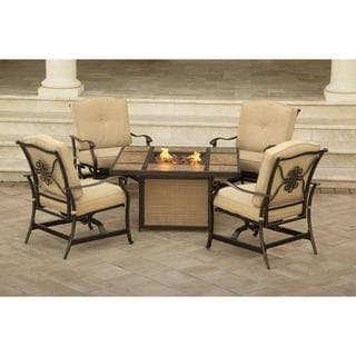 Hanover Traditions 5-piece Lounge Set with Tiled Top Fire Pit