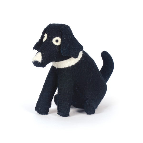 Hip Vintage Black Dog Felt Doorstop Accent Piece