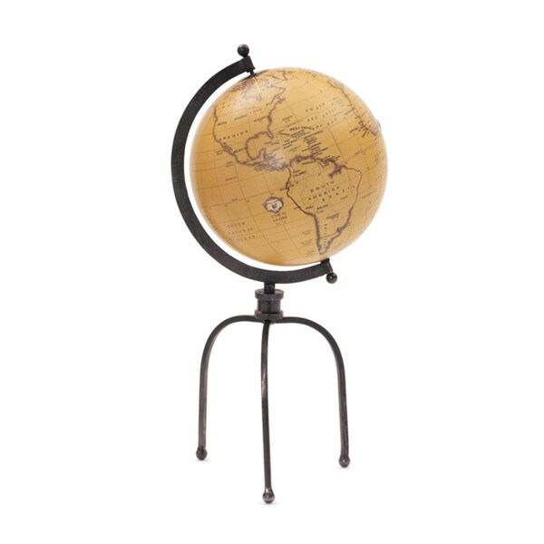hip vintage globe on tripod stand accent piece