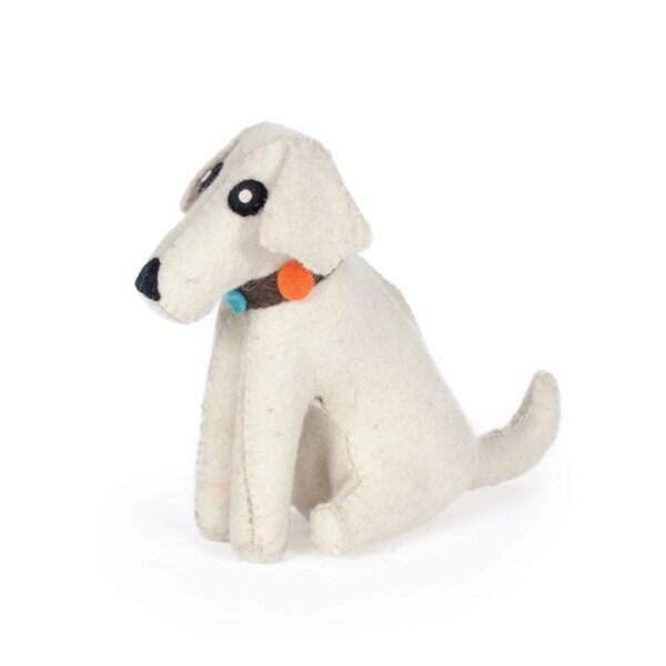 Hip Vintage White Dog Felt Doorstop Accent Piece