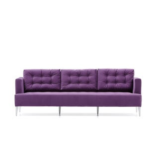Bienal Mona Quilted 3 (Three) Seater Sofa, Wood Legs with White Lacquered Paint
