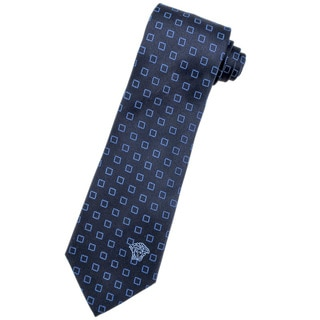 Versace 100-percent Italian Silk Dark Blue Square Neck Tie