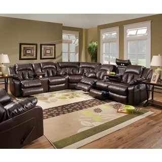 Simmons Upholstery Sebring Coffeebean Motion Sectional with Storage Console and USB Power Outlets