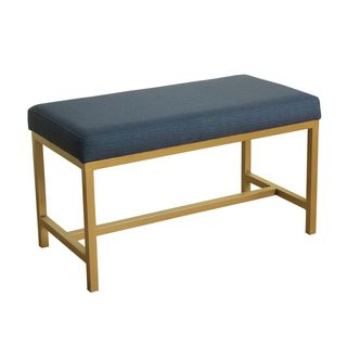 HomePop Long Rectangular Bench with Navy Fabric and Gold Metal Base