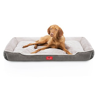 Brindle Washable Rectangle Dog Bed with Raised Bolster Design
