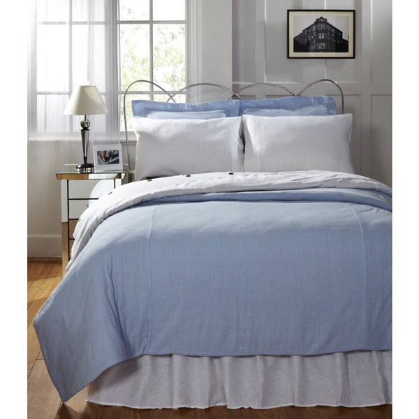 Connie Blue Cotton Seersucker Duvet Cover