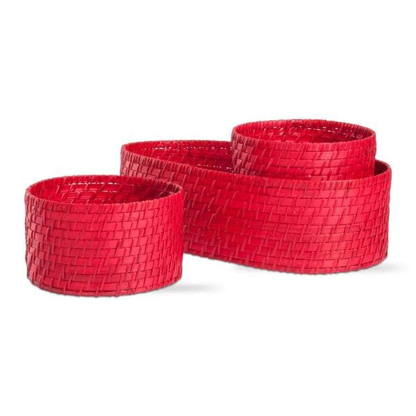 Tag Red Rattan and Bamboo Baskets (Set of 3)